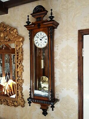 Antique single weight Vienna regulator wall Clock. Walnut case