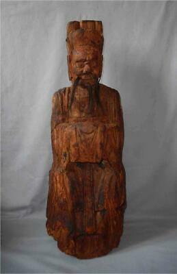 Antique China TOP HUGE VERY HIGH AGED MING WOOD DAOIST SAINT SHRINE FIGURE