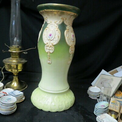 """antique Majolica pland stand / jardiniere pedestal 21 1/2"""" tall with medallians"""