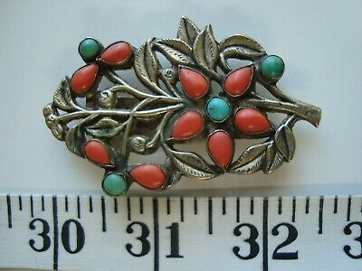 Antique Chinese Dress Clip in Brass with Coral Turquoise Adorned Tree Branch