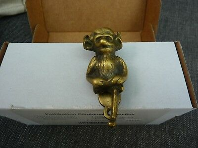 Old Reclaimed Brass Horned Creature Door Knocker / Grotesque / Devil / Gargoyle