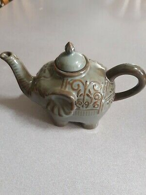 Stoneware Exclusively for Pier 1 Imports Green Brown Elephant Tea Pot