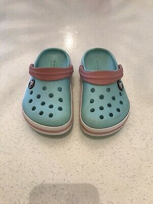 Girls Cloggs Crocs Sandals Infant UK9 Turquoise And Coral Pink Pink Beach Shoes