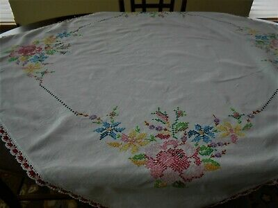 Nice  Vintage  Cotton Tablecloth - Cross Stitch Design   44 by 50