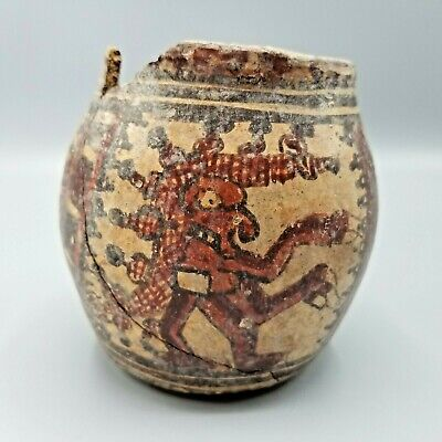 Ancient Pre-Columbian Mayan Polychrome Pot Depicting Bird Figures