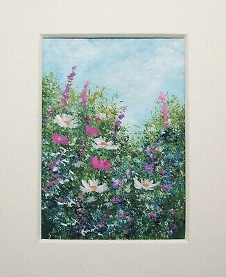 Original Wildflowers 15# Signed Landscape Miniature Aceo Painting