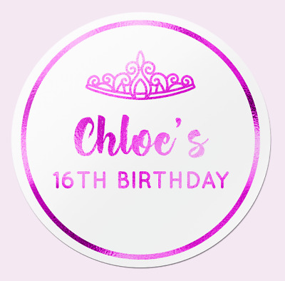 Personalised GLOSS Birthday Party Sweet Bag Stickers 18TH 21ST 30TH 12 COLOURS