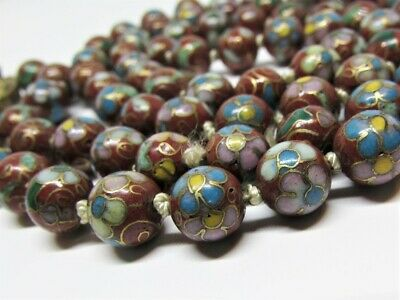 """Beautiful Vintage Chinese CLOISONNE Red Floral Hand Knotted Bead Necklace 31"""""""