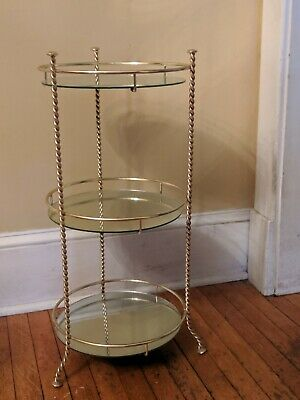 Vintage Mid Century Hollywood Regency Gold Tone Metal 3 Tier Plant Stand Table