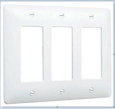 TAYMAC Wall Plate Cover - 3 Gang white / paintable - 5550W  LOT of 5 covers