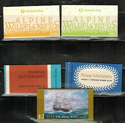 Australia 5 Complete Booklets MNH