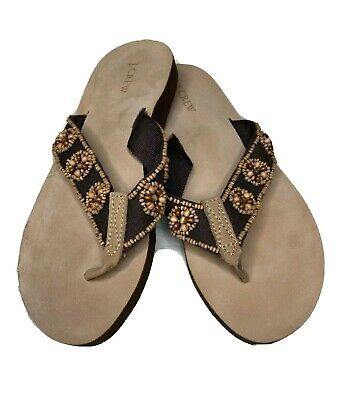 J.Crew Flip Flops Brown with Beads Gently Used Womens Size 6 EUC