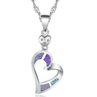 Exquisite Silver purple Imitation Opal Inlay Sideways Heart Pendant Necklace