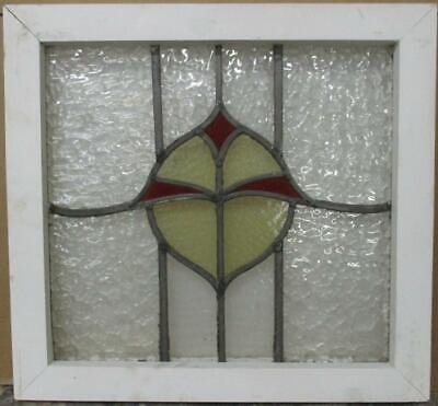 "OLD ENGLISH LEADED STAINED GLASS WINDOW Gorgeous Abstract Design 19"" x 18"""