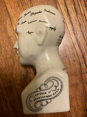 "Vintage ceramic L.N. Fowler Phrenology Scientific Psychology 6"" tall Bust Head"