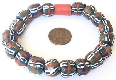 Handmade Ghana multi colored recycled glass bracelet- African Trade Beads