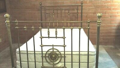 Antique Brass Bed Cast Iron Tall Ornate Vintage Victorian ? AMAZING Patina READ!