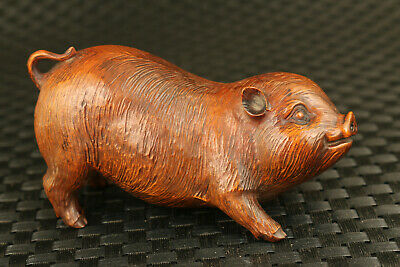unique chinese boxwood hand carved pig fortune statue collectable decoration
