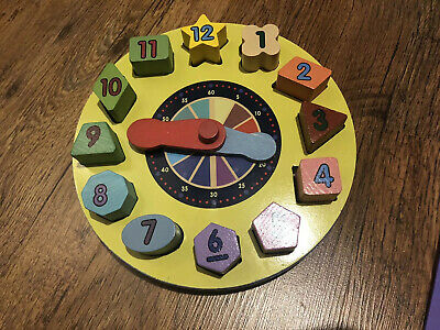 Melissa And Doug Shape Sorting Wooden Puzzle Clock