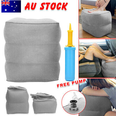 Portable Travel Pillow Inflatable Foot Rest Air Pump Pad Footrest Cushion Relax