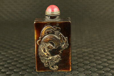 chinese old yak horn hand carved dragon statue snuff bottle collectable