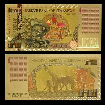 Zimbabwe 1 Bi-centillion Dollars 24K Gold Foil Banknote 100 Trillion Series
