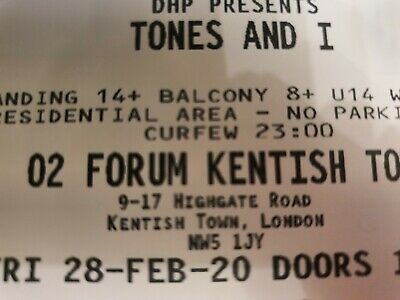 tones and I 1×ticket London Tickets 28th feb
