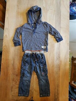 Boys navy hoody and jeans bundle - Next - 18-24 months