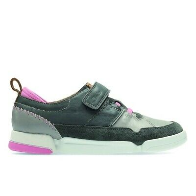 Clarks Girls Grey Leather Trainers Brand New Size 10.5 F Inf