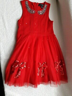GIRLS NEXT SIGNATURE RED PARTY OCCASION DRESS AGE 5 YEARS! Sequin Bows