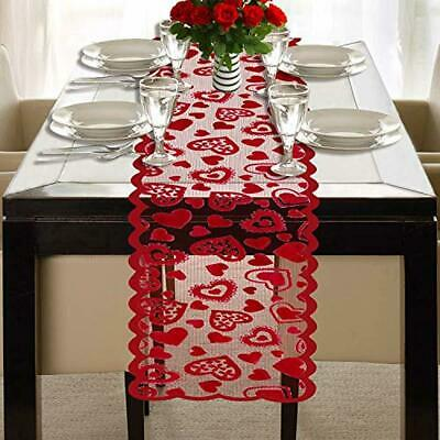 Valentines Day Table Runner - Red, 13 x 72Inch - Lace Table Runner for Wedding P