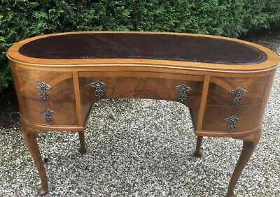 Stunning Walnut Art Deco Kidney Writing Desk  Delivery Available