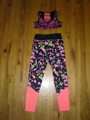 Girl's Justice Active Stretch Leggings Sz 12 and Justice DANCE Sports Bra Sz 32