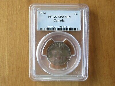 1914 Canada Large One Cent 1C Penny PCGS MS63 BN