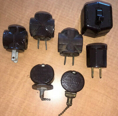 Lot of 7 Antique Vintage Bakelite Electrical Plugs Lamp Fan Switch Adapter