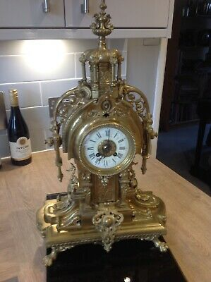 Massive Antique French Gilt Clock 14 day Striking on a Bell