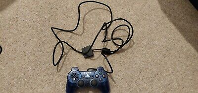 PS2 Official Dualshock 2 Crystal clear Blue Controller Good Condition