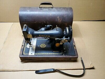 Vintage Singer Sewing Machine, Bentwood Case, Knee Control, Runs