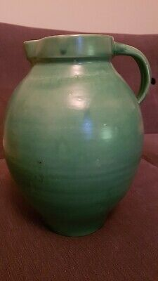 """C H Brannam Barnstaple very large 12"""" green jug in excellent condition"""