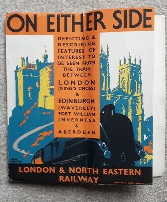 """LNER railway guide """"On Either Side"""" 1939 East Coast Main Line. Great condition"""