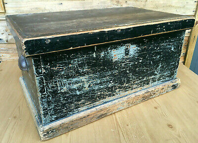 Vintage Antique Edwardian Pitch Pine Rustic Painted Blanket Chest Trunk Box 1910