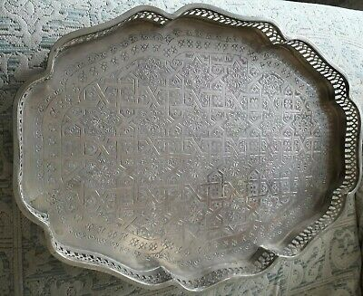 Large antique silver plated tray Islamic Middle Eastern