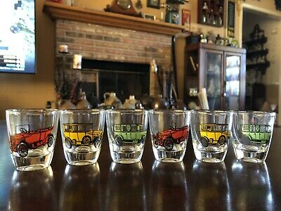 Shot Glasses Set of Six Vintage Automobile