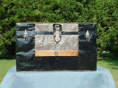 Antique Smaller Flat Top Trunk With Embossed Tin  Charming Restoration Very Nice