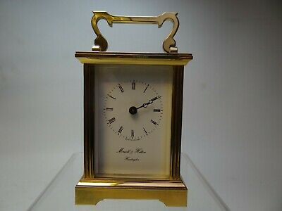 Carriage Clock Quartz with Brass Finish by Morrell and Hilton, Huntingdon