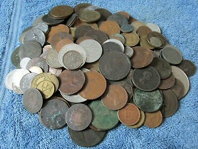 Clearance Lot of 150+ Old Coins Tokens-Great Britain & World Fun Mixed Group