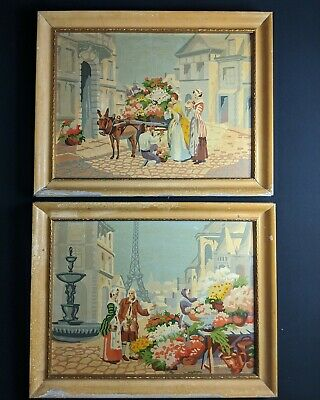 Vintage PBN Paint By Numbers French Paris Street Scenes - Framed And Completed
