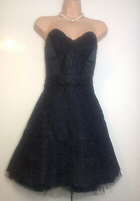 Karen Millen Black Coated Tutu Occasion Dress Size 12 Prom Wedding Races Party
