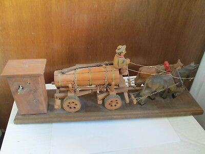 Carved Wood Horse and Wagon with Outhouse and Music Box