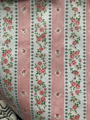"Vintage Pink Floral Pillow Ticking Fabric - Thick Cotton- 2 Yards + 30"" Wide"